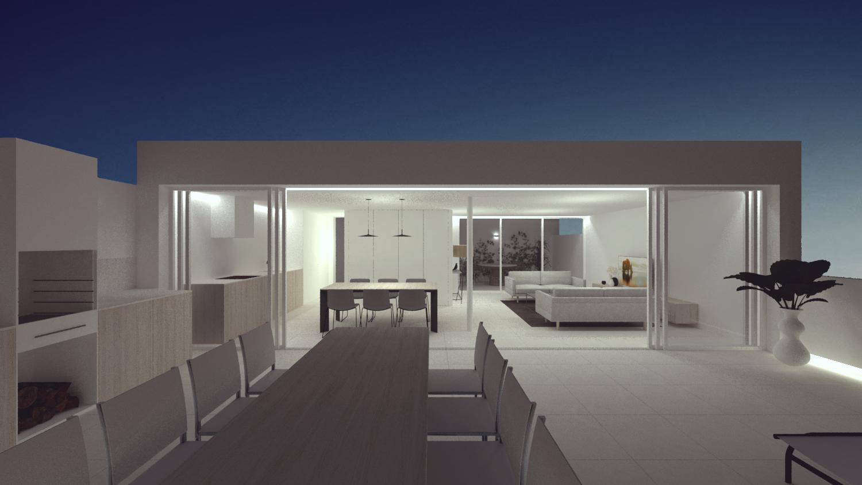 NAYA arquitectos alicante atico en la sierra de molina fachada noche