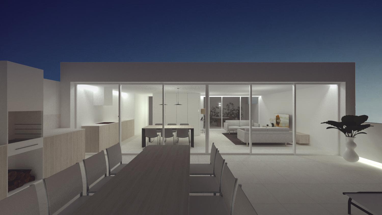 NAYA arquitectos alicante atico en la sierra de molina fachada noche cerrado
