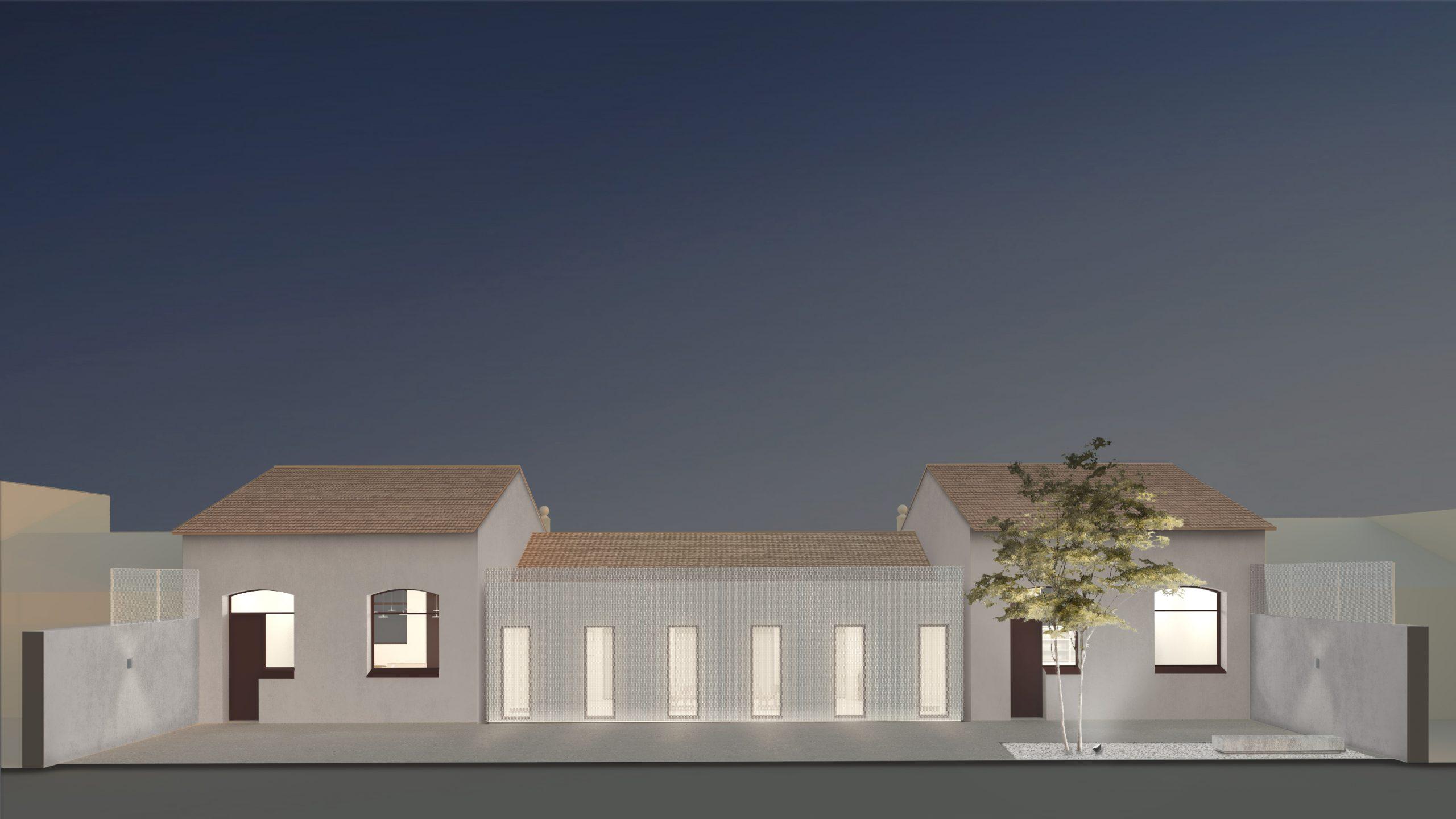 NAYA arquitectos alicante archivo municipal almoradi fachada patio nocturna