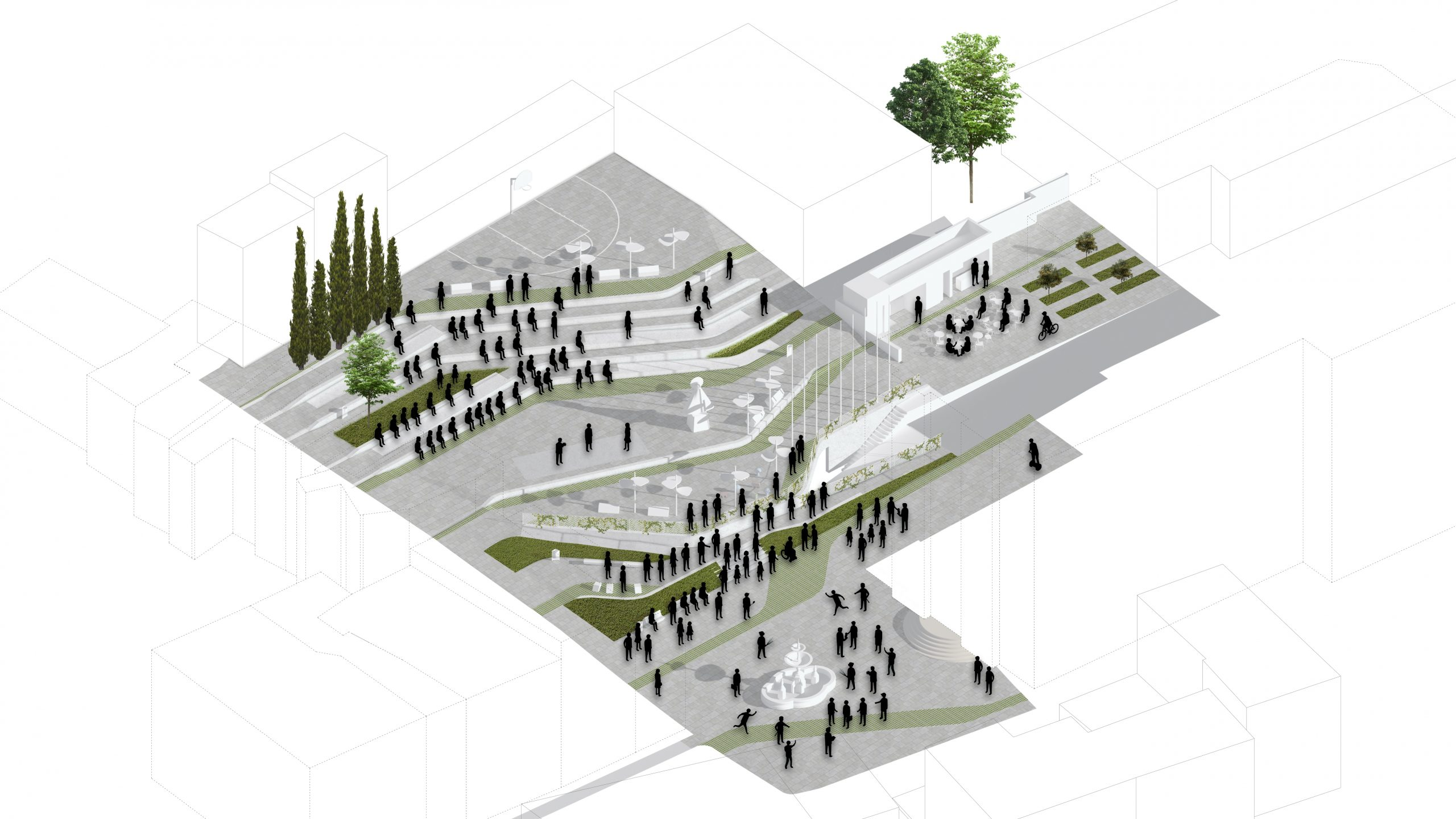NAYA arquitectos alicante plaza de la iglesia ibi axonometria