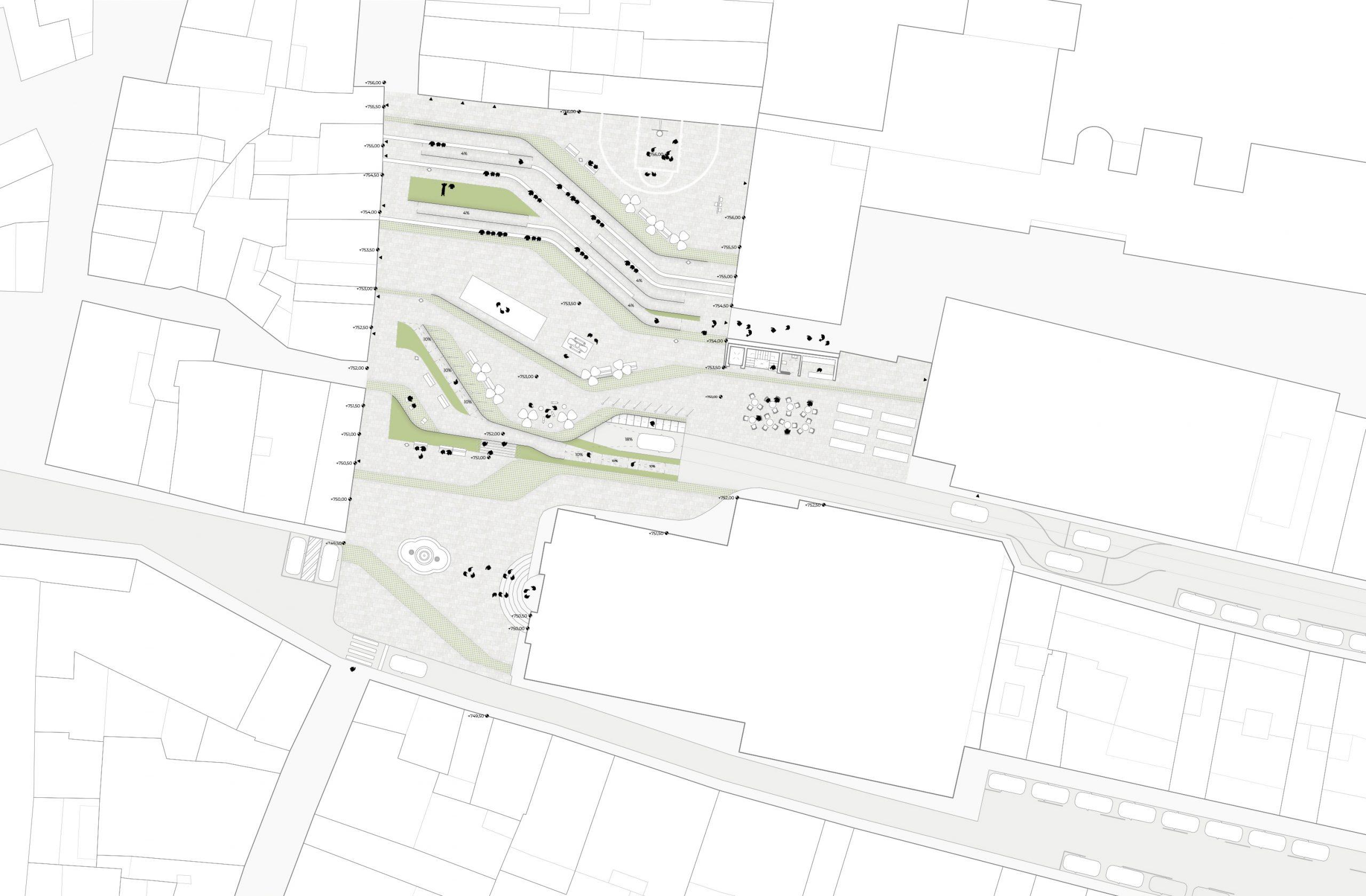 NAYA arquitectos alicante plaza de la iglesia ibi planta peatonal